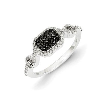 1/4 Ctw Black & White Diamond Rectangle Ring in Sterling Silver
