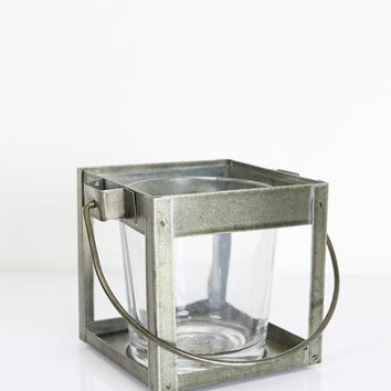 "Small Hanging Silver Metal Candle Lantern Votive - 2.5"" Tall"