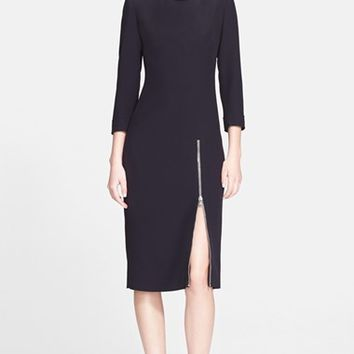 Women's Alexander McQueen Front Zip Leaf Crepe Dress