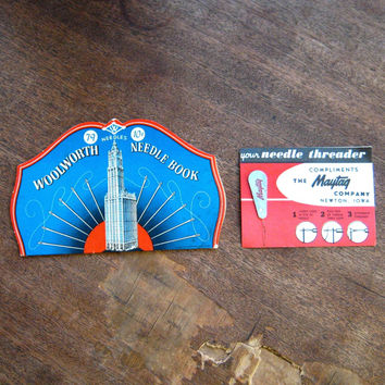 Brilliant Blue Vintage Woolworth Sewing Needle Book + Maytag Advertising Promo Needle Threader; Atomic Skyscraper Pic; Free Ship/U.S.