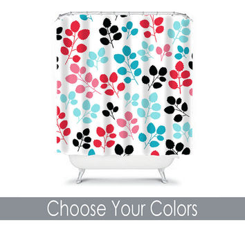 turquoise and black shower curtain. Red Turquoise Shower Curtain Monogram You Choose Colors Black  Aqua Floral Le from HoneyDesignStudio on