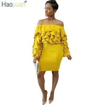 HAOYUAN Off Shoulder Long Sleeve Party Dress Ruffle Yellow Mini Robe Sexy Women Dress 2018 Autumn Spring Bodycon Ladies Dresses