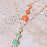 Lucky Three Necklace Set - Coral