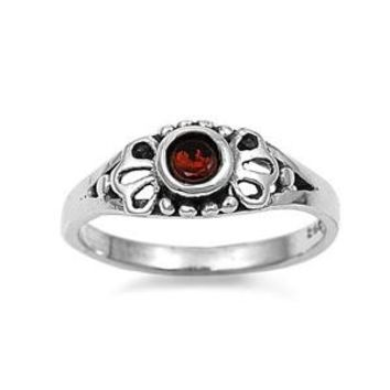 Sterling Silver Filigree Round CZ Garnet 5MM CZ Petite Rings