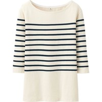 Women Pure Blue Japan Stripe Crew Neck