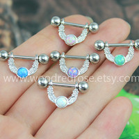 5 colors for choice --Opal Nipple Piercing Jewelry, Fire Opal nipple Ring, Nipple Ring Barbell, 14G,316L Surgical Steel Body Jewelry