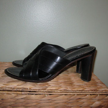 Vintage 90s Black Leather High Heel Shoes / Black Leather Heels / Made in Brazil / Women / size 8