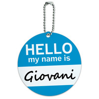 Giovani Hello My Name Is Round ID Card Luggage Tag