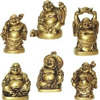 "Figurine - BUDDHA GOLDEN ORIENTAL (SET 6) 2"" Height"