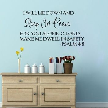 Sleep In Peace Letters Wall Stickers Bible Verse Wall Decal Quote Sticker Decor Inspiration Wall Paper