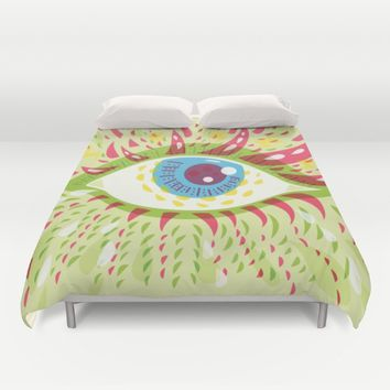 Front Looking Psychedelic Eye Duvet Cover by Boriana Giormova