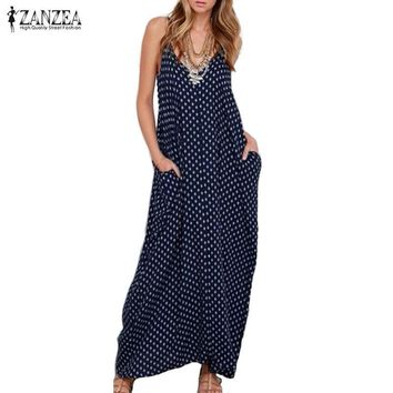 New Summer Dress Fashion Women Dress Strapless Polka Dot Loose Beach Long Maxi Dress Vintage Vestidos Plus Size