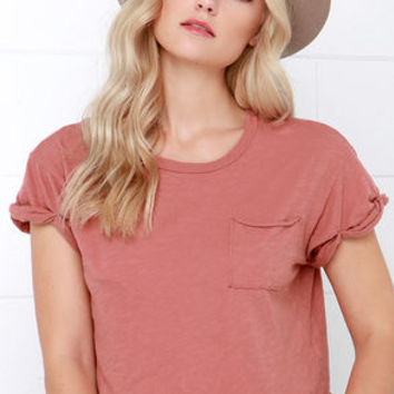 Project Social T Quick-Witted Dusty Rose Crop Tee