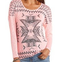 Aztec Print Neon Tunic Sweater