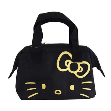 Black Hello Kitty Cat Women Insulated Lunch Bags for Kids School Girls Lunch Box Tote Bag Thermo Thermal Cooler Food Bags