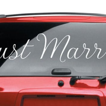 Just Married Car Decal Vinyl Lettering Bumper Sticker Wedding Just Married Car Decal