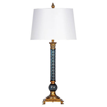 Carissima Column Table Lamp, Teal/Brass, Table Lamps