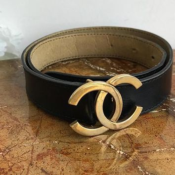 CHANEL Woman Men Fashion Smooth Buckle Leather Belt Black