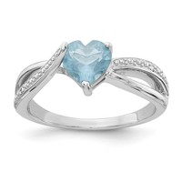 Sterling Silver 7mm Heart Created Aquamarine Genuine Diamond Accented Infinity Inspired Ring