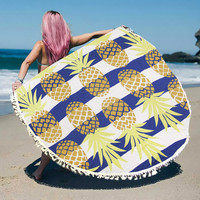Pineapple Tassel Round Beach Blanket Towel