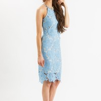 Maya Blue Lace Halter Midi Dress