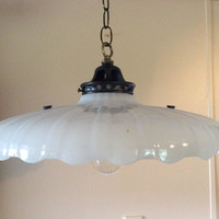 Antique Large Art Deco Milkglass Pendant Light Scalloped Edge Clam Broth Shade 1915s