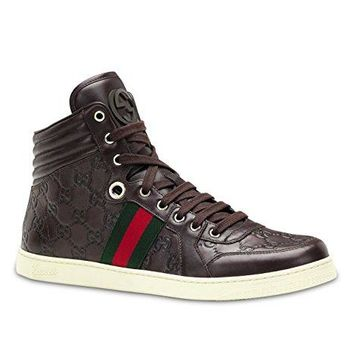 Gucci Men's GG Guccissima Leather High-Top Sneaker, Brown