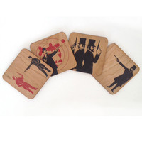 Spitfire Girl Gun Men Coaster Set