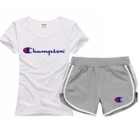 Trendsetter Champion Women Men Casual Sport T-Shirt Top Tee Shorts Set Two-Piece
