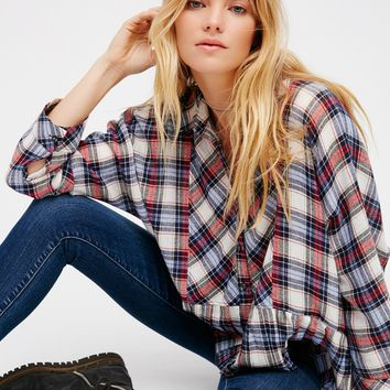Free People Promise Everything Plaid Shirt