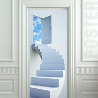 Door STICKER stairs flight sky heaven mural decole film self-adhesive poster 30x79inch(77x200 cm)