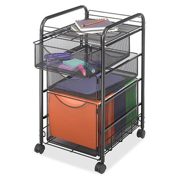 Black Metal Steel Mesh Mobile Filing Cabinet Cart with 2 Drawers and Wheels