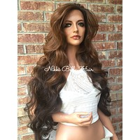Light Brown to Dark Brown Loose Curl Hair Swiss Lace Front Wig 30 inches
