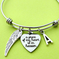 Personalized, Letter, Initial, Angel, Wing, Miscarriage, a piece of my heart is in heaven, Remembrance, Memorial, Bangle, Bracelet, Gift