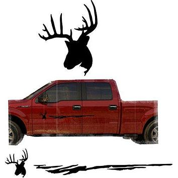 Hunting Deer Trailer Decals Truck Decal Side Set Vinyl Sticker Auto Decor Graphic Kit TT10