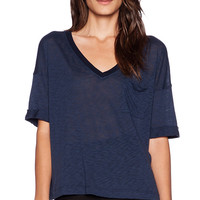 Splendid Slub Tee V Neck in Navy