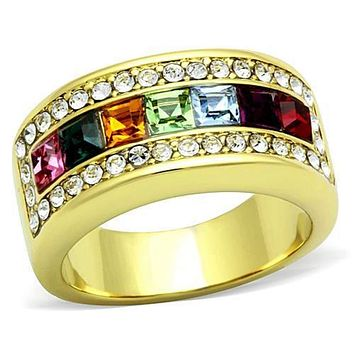 WildKlass Stainless Steel Ring IP Gold(Ion Plating) Women Top Grade Crystal Multi Color
