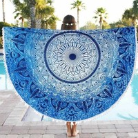 ONETOW Beach Round Tapestry Bohemian Hippie Pineapple Yoga Mat Lightweight multi-functionTowel Tablecloth Beach Towel 150x150cm
