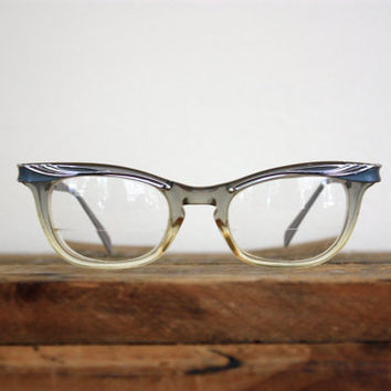 Vintage American Optical Silver Grey and Clear Cat Eye Square Embellished Eyeglasses