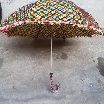Handmade BIG umbrella  cotton fabric   with embroidery work ,decorative cotton parasol ,hand stitcher work sun umbrella ,big size 36*34 inch