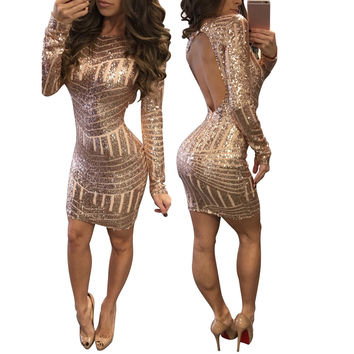 Women Dress Sexy Long Sleeves Sequined