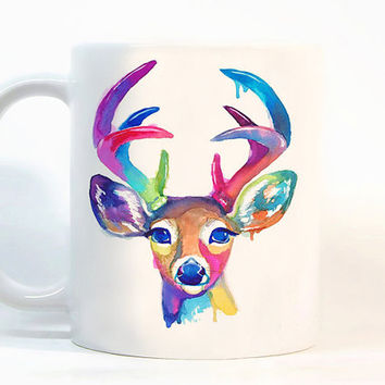 Deer coffee mug / Colorful Deer mug / Printed mugs / Deer mug / Gift for her / Tea Cup / watercolor Ceramic mug / Gift for him