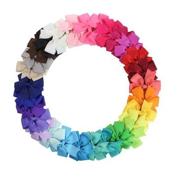 ESB1ON 3 inch 30Pcs/pack   Grosgrain Ribbon Boutique Girls Hair Bows For Teens   hair barrttes clip hair accessories
