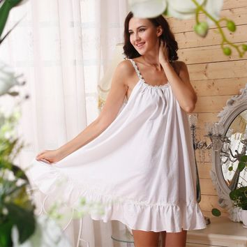 Cotton Nightgown Princess Women US Size White Cotton Sleeveless Nightgown Summer Sunflower Ruffle Sleep Dress
