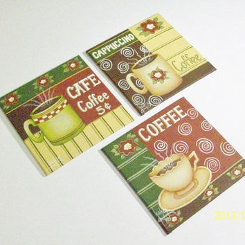 Set Of Three Coffee Theme Small Canvas Paintings