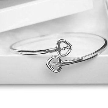 Silver Two Hearts & Ribbon Bangle Bracelets For Mental Health Awareness