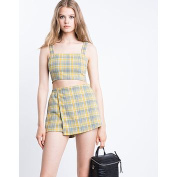 Cher Yellow Plaid Skort