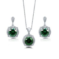 Round Cut Emerald Cubic Zirconia CZ 925 Sterling Silver Halo Pendant Necklace Dangle Earrings And Cocktail Ring Matching 3 Pc Set #vs177