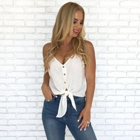 Summer Linen Top in Ivory