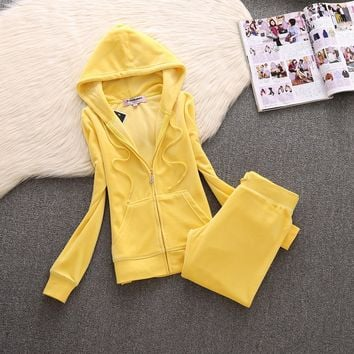Juicy Couture Simple Pure Color Velour Tracksuit 611 2pcs Women Suits Yellow